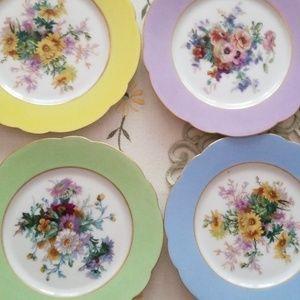 4 Floral Dessert Plates